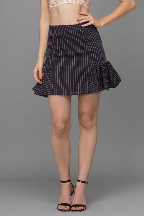 TRIPPED NAVY LINEN MINI SKIRT