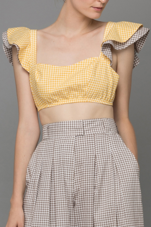 ÁO CROPTOP TAY BÈO YELLOW BROWN GINGHAM ANGEL CROP - TOP