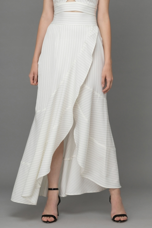 BLACK WHITE STRIPPED TRIANGLE POLY - SATIN MAXI